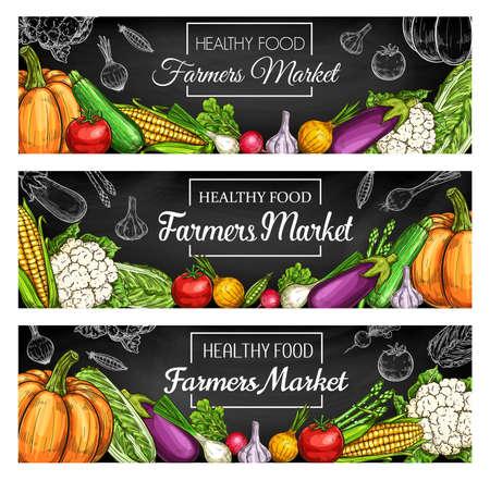 Fresh farm vegetable blackboard banners with vector sketches of garden harvest veggies. Tomato, onion, radish and asparagus, zucchini, cauliflower, pumpkin, garlic and corn hand drawn chalkboard