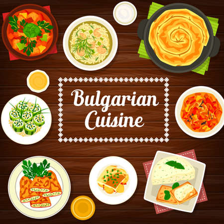Vegetable and meat food dishes of Bulgarian cuisine. Vector bell peppers and cucumber rolls with bryndza cheese, fish casserole and pork stew, eggplant spread and pate with meatball soup. Ilustração Vetorial