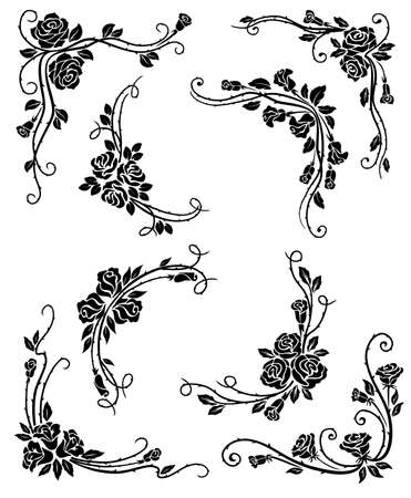 Floral corners, frame and vignette borders vector design with black rose flowers, leaves and flourish vine swirls. Vintage calligraphic elements for page decoration, wedding invitation, greeting card