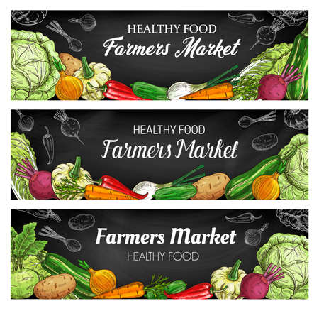 Fresh vegetable food vector sketches, chalkboard banners with farm and garden veggies. Hand drawn carrot, chilli pepper, green and napa cabbage, onion, zucchini, potato and beet, cucumber and squash