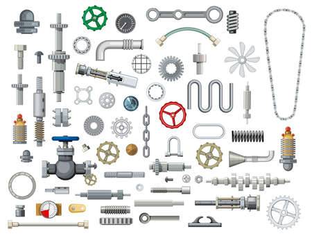 Ships and boats mechanisms spare parts cartoon vector. Metal gears, steel springs and gaskets, pipe, hose and bearing, motor chain, camshaft and piston pin, pressure gauge, emergency and gate valve