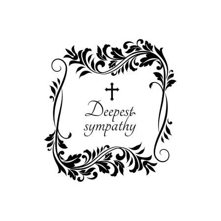 Condolence message on gravestone with vintage flower ornaments and crucifix cross. Vector funeral card template, obituary memorial, gravestone funeral lettering on tombstone, floral border frame