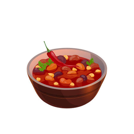 Bean soup mexican cuisine food isolated bowl with tomato sauce, chili pepper and vegetables. Vector traditional vegetarian dish, realistic hot first course, spicy soup with meat and vegetables