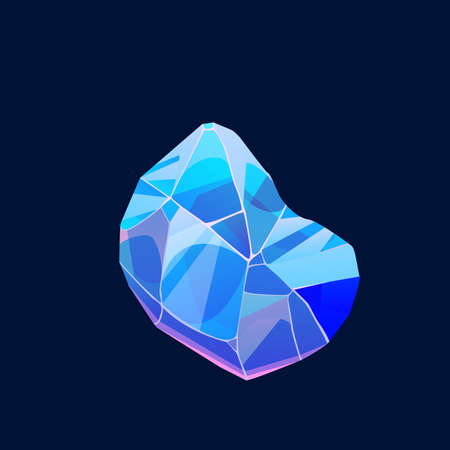 Blue magic crystal gem, vector icon, jewel rock mineral stone. Isolated natural turquoise gemstone zircon, apatite, lapis lazuli, opal or quartz glass. Cartoon jewelry and geology sign for ui pc game