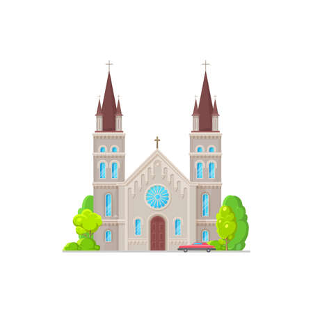 Catholic church building vector icon. Medieval cathedral with gothic steeples, arch and rose windows. Chapel or monastery facade, christian church, architecture exterior with parked car at entrance