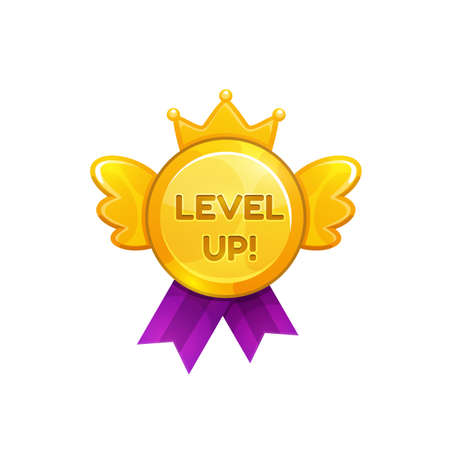 Level up ui or gui game medal on ribbon decorated by wings, crown isolated flat cartoon icon. Vector reward sticker for achievement, mobile application bonus, golden prize. Award, level complete sign