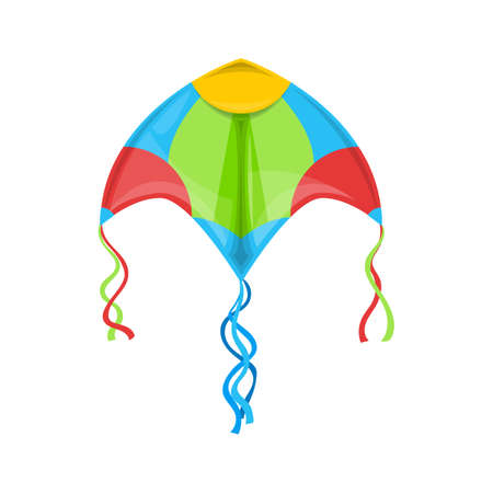 Kite flying in sky isolated outdoor summer activity object. Vector kite in blue, green, yellow and red. Controllable object in kiteboarding kitesurfing. Makar Sankranti festival, Indian holiday symbol