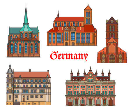 Germany landmarks architecture, German cities Rostock and Gustrow buildings, vector. St Nikolai kirche, Marienkirche and Wismar rathaus, Cistercian cathedral in Bad Doberan and gothic castle schloss