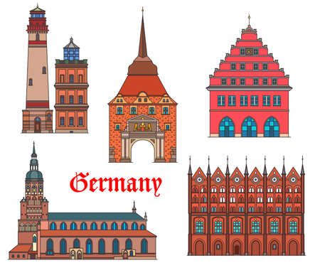 Germany landmarks architecture, German cities Rostock and Greifswald buildings, vector. Germany landmarks of Stralsund rathaus, Rugen island lighthouse, St Nikolai cathedral and Steintor gates