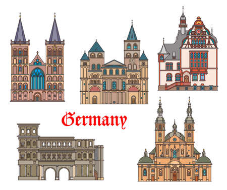 Germany landmarks architecture in Trier and Fulda German cities, vector. Landmark buildings of Saint Peter cathedral, Limburg rathaus, Porta Nigra city gates and St Viktor dom in Xanten