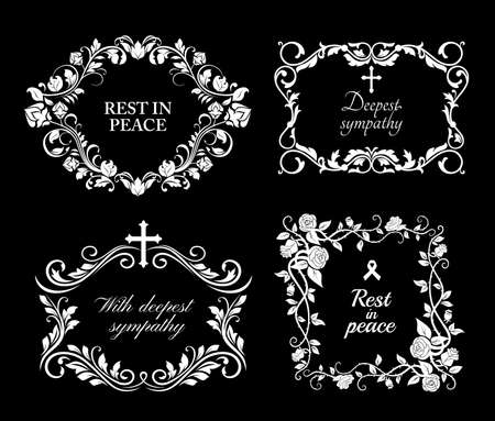 Funeral vector frames, isolated wreaths of floral design with blossoms and leaves. Mourning white flowers, flourishes, ribbon condolence typography. Obituary mournful funereal monochrome borders set Vector Illustration