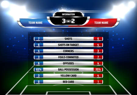 Football game statistics scoreboard template. Football championship, competition scores and goals info board, game results on screen with soccer field spotlights on background 3d realistic vector Ilustração Vetorial