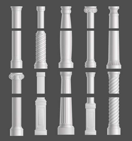 Antique marble columns vector white ancient classic pillars of roman or greece architecture with ornament for interior or facade exterior. Joinery elements realistic 3d set isolated on gray background