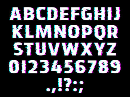 Glitch type font, glowing vector alphabet letters, ripple digits and punctuation marks isolated on black background. Distorted glitched effect glow abc uppercase characters, retro style signs set Vector Illustration