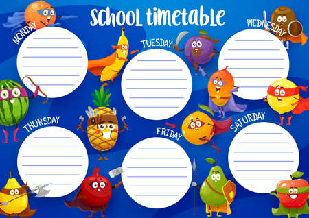 Education school timetable with fruits super heroes vector template. Cartoon superheroes food in mask and cape. Kids time table schedule for lessons with funny fruit characters, weekly planner frame