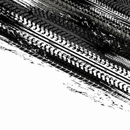 Tire tracks, car or motorcycle wheels on road, vector races tread marks. Black tire tracks pattern on white background, grunge dirt and truck or bike tire traces, tractor rubber tire trail