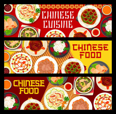 Chinese food of Asian cuisine vector banners with seafood, meat and vegetable dishes. Rice noodles and spring rolls with shrimps and beef tongue, fish soup, radish and cabbage salad with chilli sauce