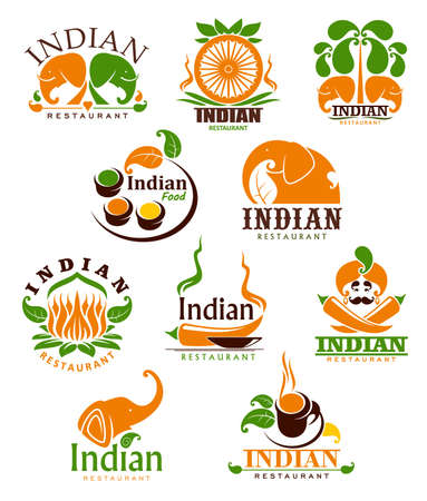 Indian food restaurant vector icons, cartoon emblems with traditional symbols of India. Chili peppers, condiments and elephants with palm trees and lous flower with steaming cup isolated labels set
