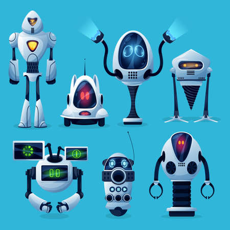 Cartoon robots vector icons, artificial intelligence cyborg characters, cute toys or bots futuristic technology. Friendly robots on wheels and legs with long arms and digital face screens isolated set