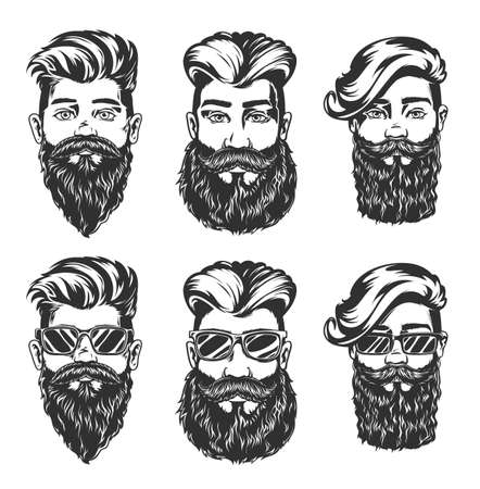 Hipster hairstyle and beard style vector sketches of men faces with fashion haircuts, beards, mustaches and glasses, isolated hand drawn heads with undercut, angular fringe and pompadour hairstyles