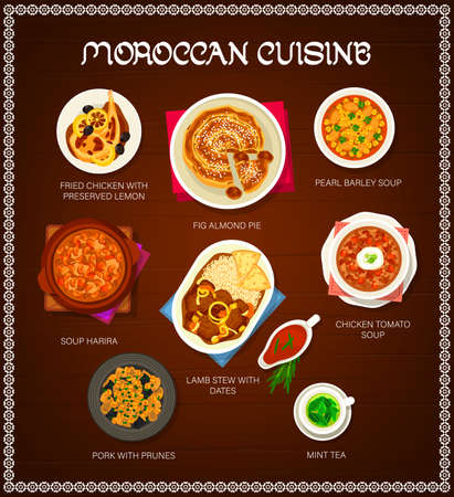 Moroccan cuisine restaurant menu template. Pork with prunes, lamb stew with dates and mint tea, pearl barley, harira and chicken tomato soup, fig almond pie, fried chicken with preserved lemon vector