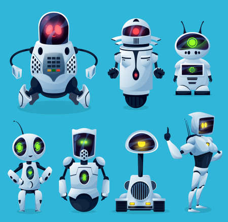 Robots, cartoon AI chatbots and bots, vector kid toy characters. Android robots and future chatbots or robo alien cyborgs, futuristic transformer monsters and game, mascots with digital screen display