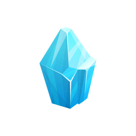 Ice rock crystal, blue snow iceberg or frozen water and arctic glacier mountain, vector icon. Antarctica polar ice or cracked iceberg piece and glass stalagmite or frost icicle isolated block
