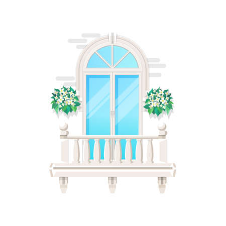 Balcony with house window, vintage classic facade banister of building, vector flat icon. Modern balcony exterior front with window glass door, white marble stone railing and terrace flowers