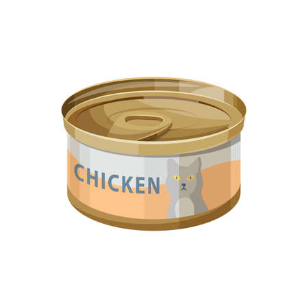 Cat food, wet canned chicken meat in jelly, vector flat icon. Cat eating dish or treat and nutrition meal wet food in can, pets care and feeding preserves item