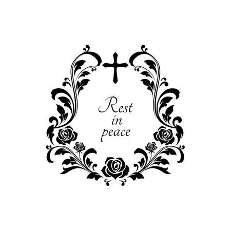 Rest in peace grief with crucifix cross, floral ornament with flowers and leaves isolated funeral lettering. Vector condolence message on gravestone, obituary memorial border frame, text on tombstone
