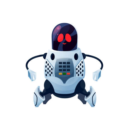 Robot with flexible arms with grabs isolated kids toy. Vector futuristic humanoid or cyborg, android round head with display on face. Cyber space mechanical plastic or metal robotic loader