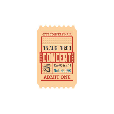 Ticket to concert hall, numbered paper card with price. Vector pass to visit instrumental orchestra show, admit on performane of classical music. Raffle coupon with date and price, special voucher Vecteurs