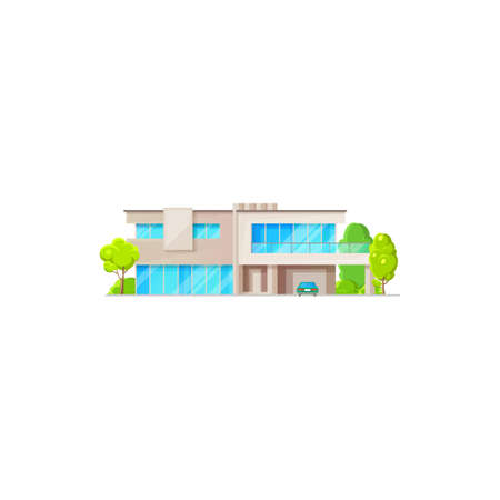Modern chalet, country contemporary building, futuristic dwelling. Vector luxury house sale or rent, country architecture. House exterior, panoramic windows and green trees, garage gates isolated