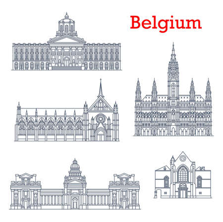 Belgium landmarks, buildings architecture and cathedrals of Brussels. City hall and Saint Jacques church at Coudenberg, Sablon Church of Blessed Lady and Bruxelles Palace of Justice, Belgian travel
