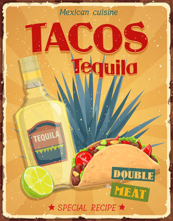 Mexican cuisine tacos and tequila vector retro poster. Tacos and tequila special recipe, azul agave and lime on grunge background. Fiesta party meals, traditional dishes of mexico and Latin America