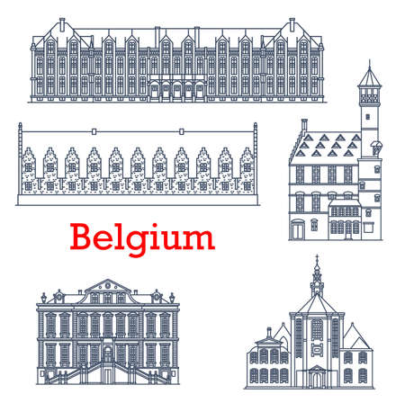 Belgium travel landmark architecture, Liege palaces, cathedrals and churches, vector. Belgian famous buildings of Sainte Elisabeth Eglise church, Liege town hall Stadhuis and Prince Bishops Palace