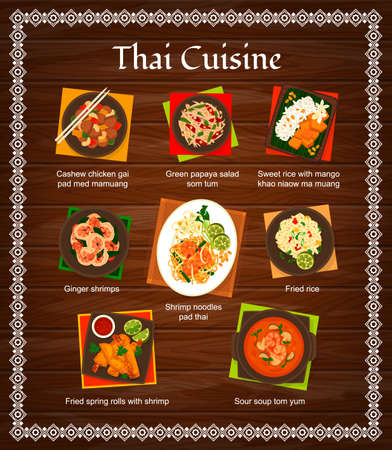 Thai cuisine vector menu green papaya salad som tum, sweet rice with mango khao niaow ma muang. Ginger shrimps and pad thai, fried rice or spring rolls with shrimp and sour soup tom yum Thailand food Ilustracje wektorowe