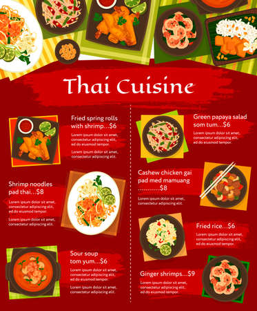 Thai cuisine vector menu gai pad med mamuang, green papaya salad som tum and sweet rice with mango khao niaow ma muang. Ginger shrimps, fried spring rolls with shrimp, sour soup tom yum Thailand meals