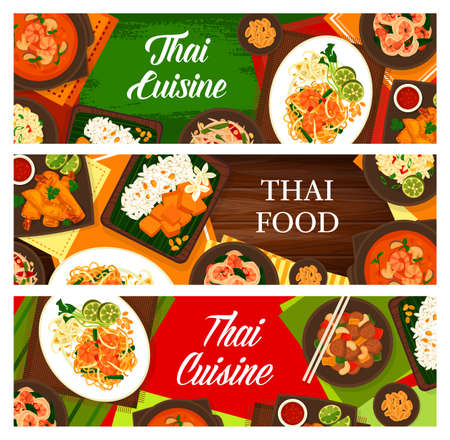 Thai cuisine vector sweet rice with mango khao niaow ma muang, cashew chicken gai pad med mamuang, and green papaya salad som tum. Shrimp noodles, fried rice and spring rolls or tom yum Thailand food