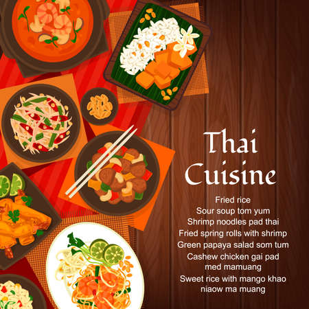 Thai cuisine vector cashew chicken gai pad med mamuang. Green papaya salad som tum and sweet rice with mango khao niaow ma muang. Fried spring rolls with shrimp and sour soup tom yum Thailand food