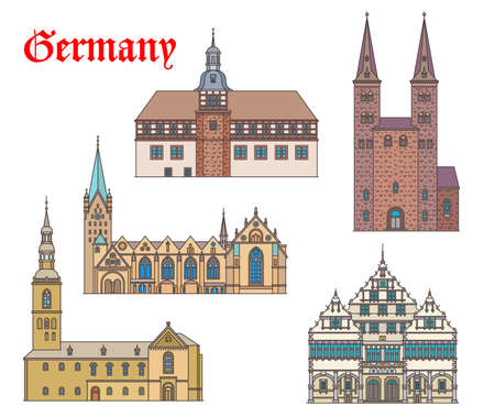 Germany landmark buildings architecture in Westphalia, German churches and cathedrals, vector. St Kilian kirche in Hoexter, rathaus and cathedral dom in Padeborn, Peterkirche church in Soest
