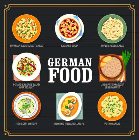 German food and Germany cuisine dishes menu, vector dinner and lunch meals. German cuisine traditional food plates, Bavarian sauerkraut salad, sausage and fish soup, potato sausage wurstsalat