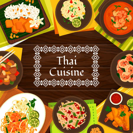 Thai cuisine vector fried spring rolls with shrimp, sour soup tom yum, cashew chicken gai pad med mamuang. Sweet rice with mango khao niaow ma muang, shrimp noodles pad thai, fried rice Thailand meals