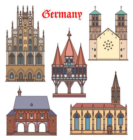 Germany landmark buildings, cathedrals, German travel famous architecture, vector. St Lambert catholic church and rathaus in Munster Westphalia, St Paulus Dom and Benedictine abbey in Lorsch, Germany