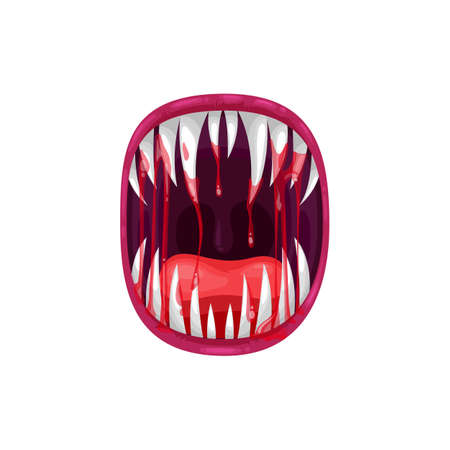 Monster mouth vector icon, creepy yelling alien beast jaws with sharp teeth and long tongue with dripping bloody saliva. Angry creature yell isolated on white background Vector Illustration