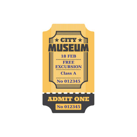 Admission to visit exhibition, ticket to city museum, numbered paper card with price, free excursion included. Vector admit on performance or excursion in museum, coupon with date, special voucher