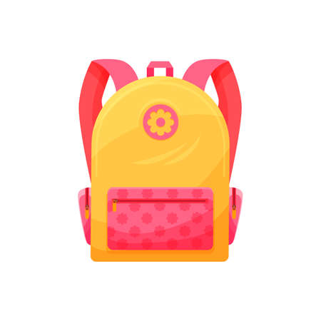 Kids schoolbag isolated vector icon, cute cartoon rucksack, pink and yellow baby backpack for girl with flower decor, student knapsack on white background