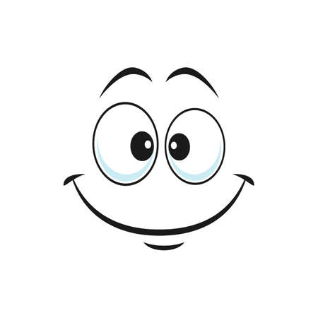 Satisfied emoji laughing head, world smile day symbol isolated support center bot avatar with kind smile. Vector happy smiley with laughing mouth, emoticon emoji chatbot in good mood, print art