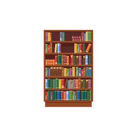 Bookcase vector icon, cartoon shelf with books in library, wooden bookstore with colorful spines on shelves isolated on white background. Literature archive symbol