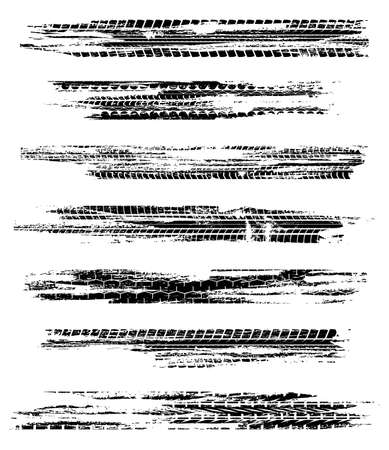 Tire track traces and treads, car races, motocross and motorcycle wheels on road, vector. Black tire tracks and tire prints pattern on white background, grunge dirt and truck or bike traces